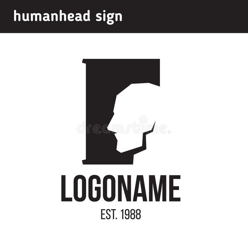 Huvud för logoman` s i profil stock illustrationer