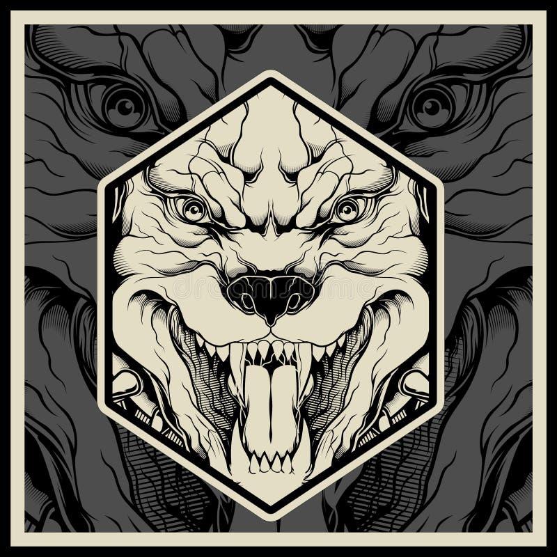 Huvud för maskot för pitbull för vektorillustration ilsket royaltyfri illustrationer