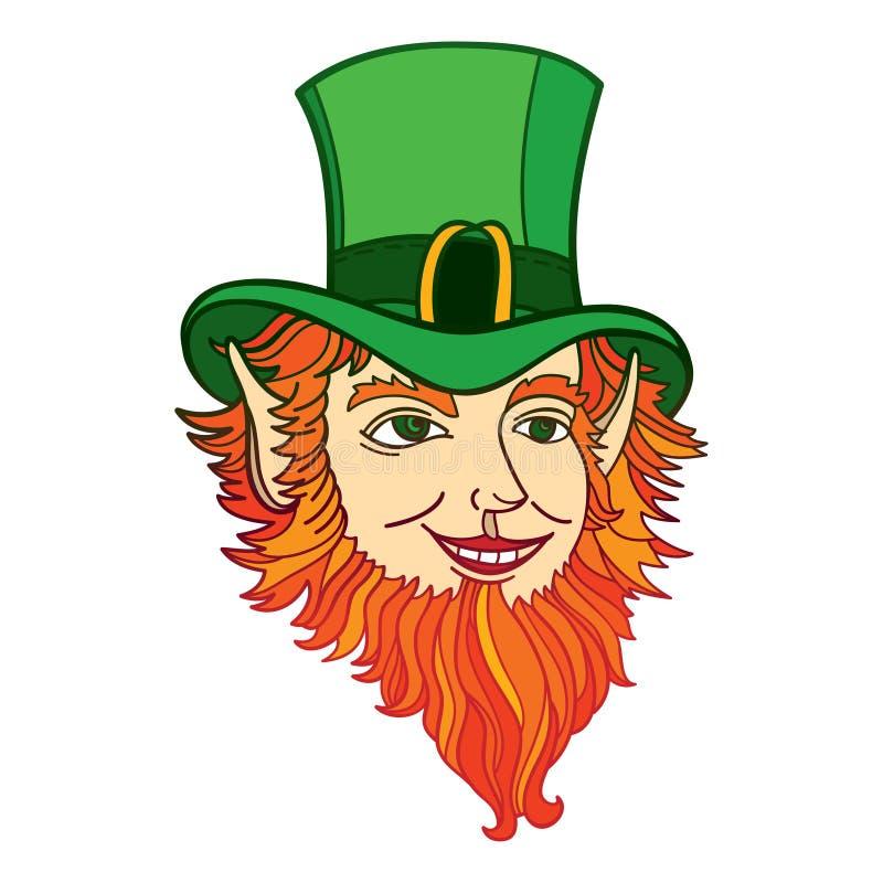 Huvud för vektoröversiktstroll med den gröna hatten och röda skägget som isoleras på vit bakgrund Mytologitecken från irländsk fo vektor illustrationer