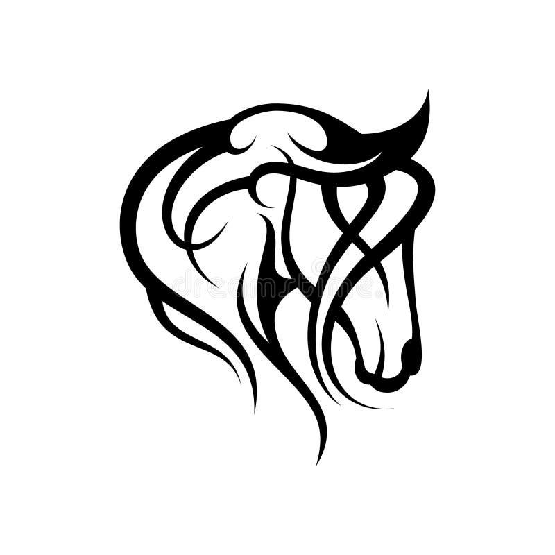 Huvud för vektor för idérik konturillustration stam- av hästdesignbegreppet stock illustrationer