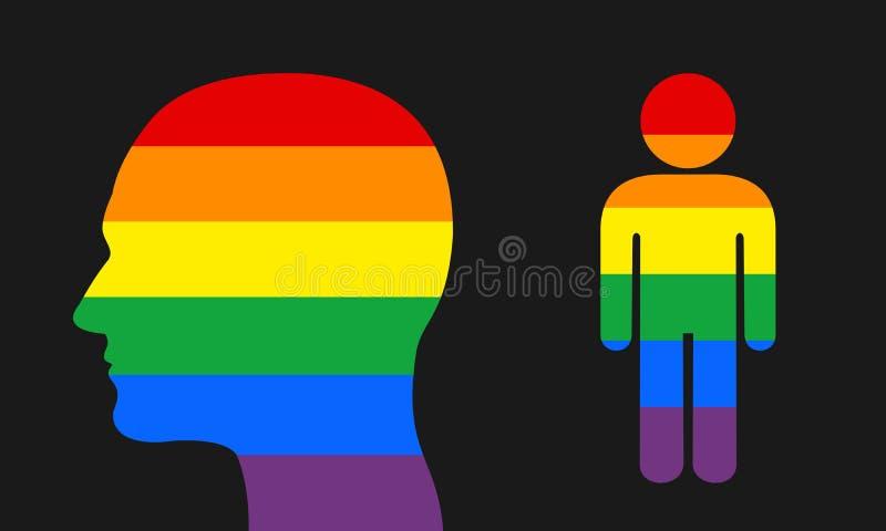 Huvud i färgerna av LGBT royaltyfri illustrationer