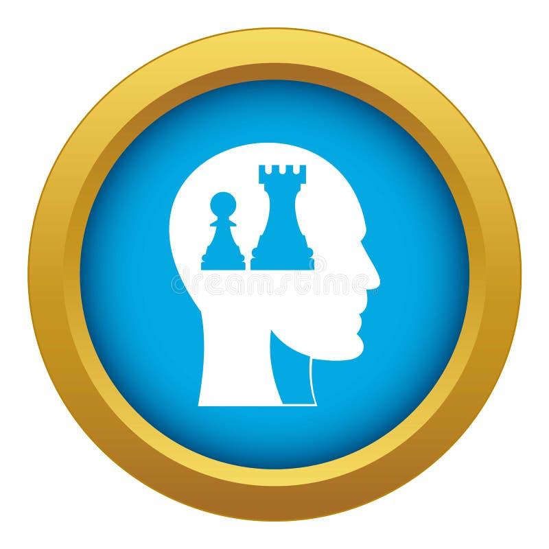 Huvud med drottningen och att pantsätta den isolerade blåa vektorn för schacksymbol vektor illustrationer