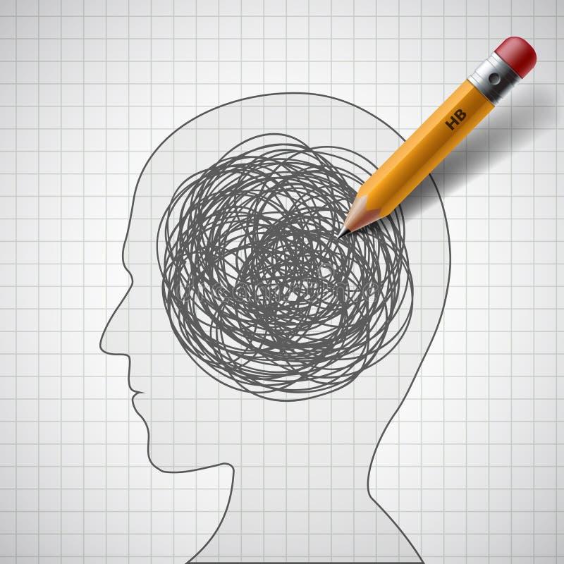 Huvud med en klottra stock illustrationer
