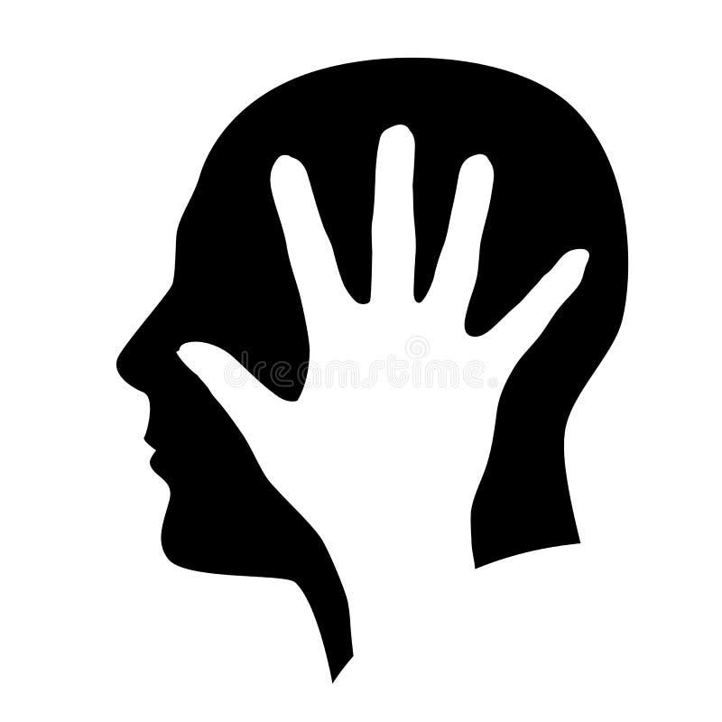 Huvud med handen stock illustrationer