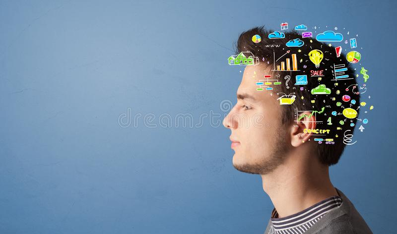 Huvud med kontorsoperationbegrepp arkivbilder