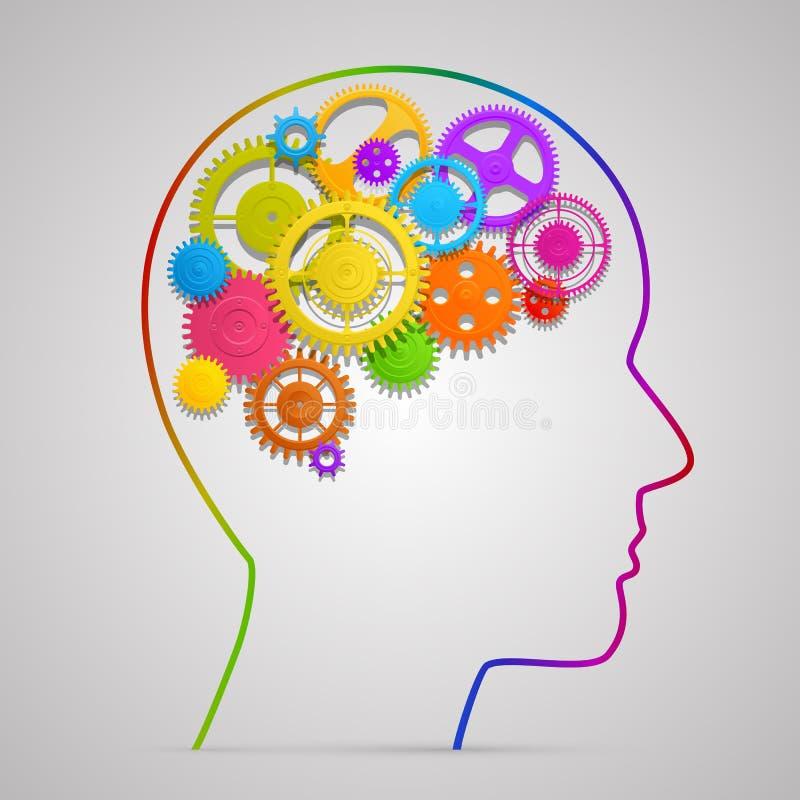 Huvud med kugghjul i hjärna