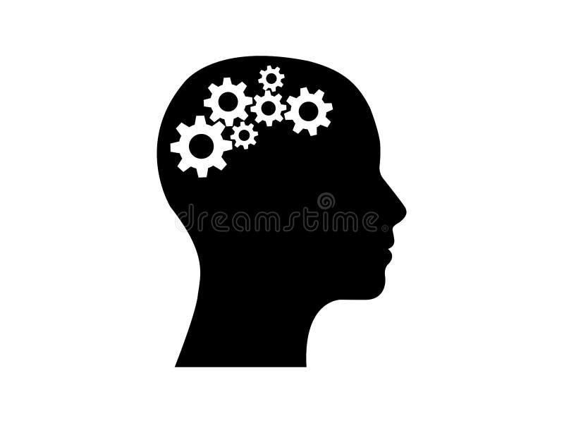 Huvud med kugghjul inom stock illustrationer