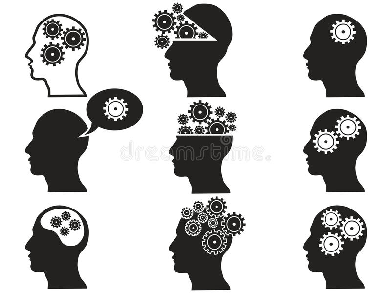 Huvud med kugghjulsymbolsuppsättningen royaltyfri illustrationer