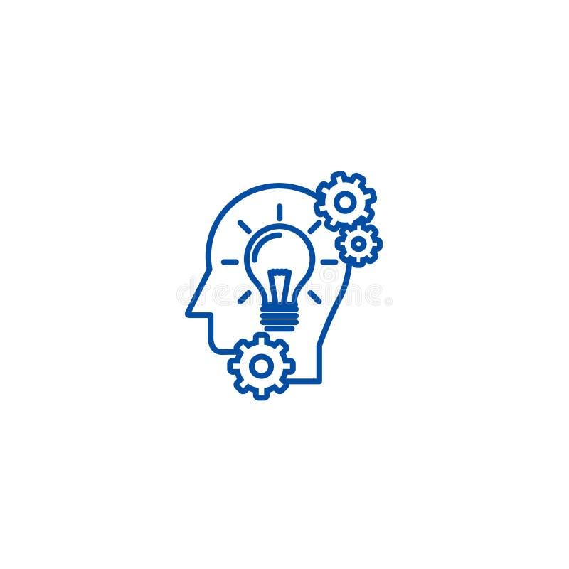 Huvud med lampan, idéutvecklingslinje symbolsbegrepp Huvud med lampan, symbol för vektor för idéutveckling plant, tecken, översik vektor illustrationer