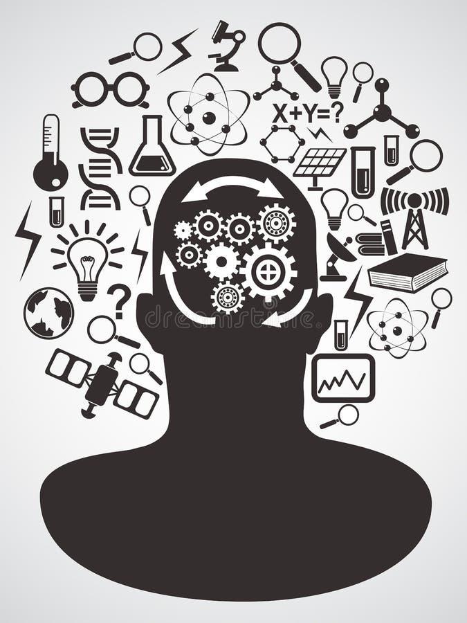 Huvud med vetenskapssymbolsuppsättningen stock illustrationer