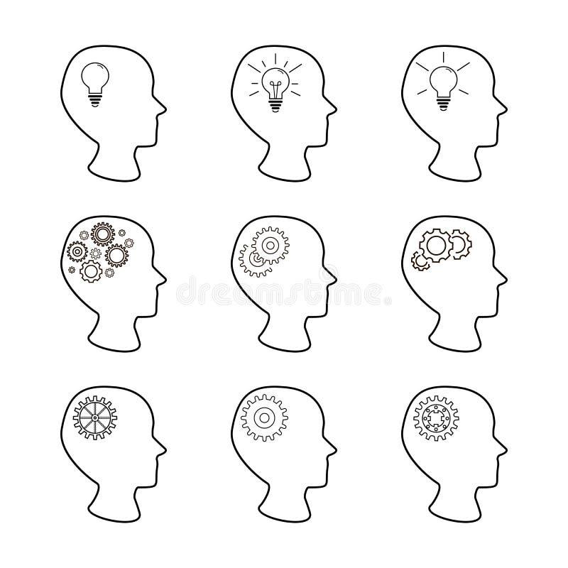Huvud och kugghjul ställde in, samlingen av mänskliga huvud med mekanismen inom, ställde in av idérika idésymboler royaltyfri illustrationer