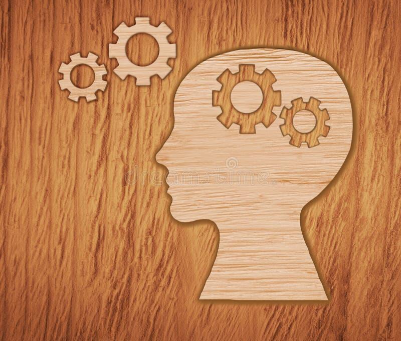 Huvud som göras från kugghjul Hjärnaktivitet arkivbilder