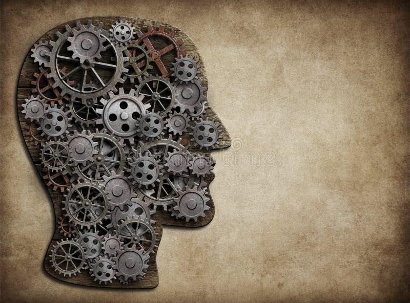 Huvud som göras från kugghjul och kuggar Hjärnaktivitet, idébegrepp stock illustrationer