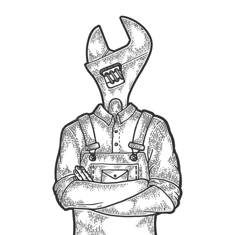 Huvudarbetaren för den justerbara skiftnyckeln skissar gravyr vektor illustrationer