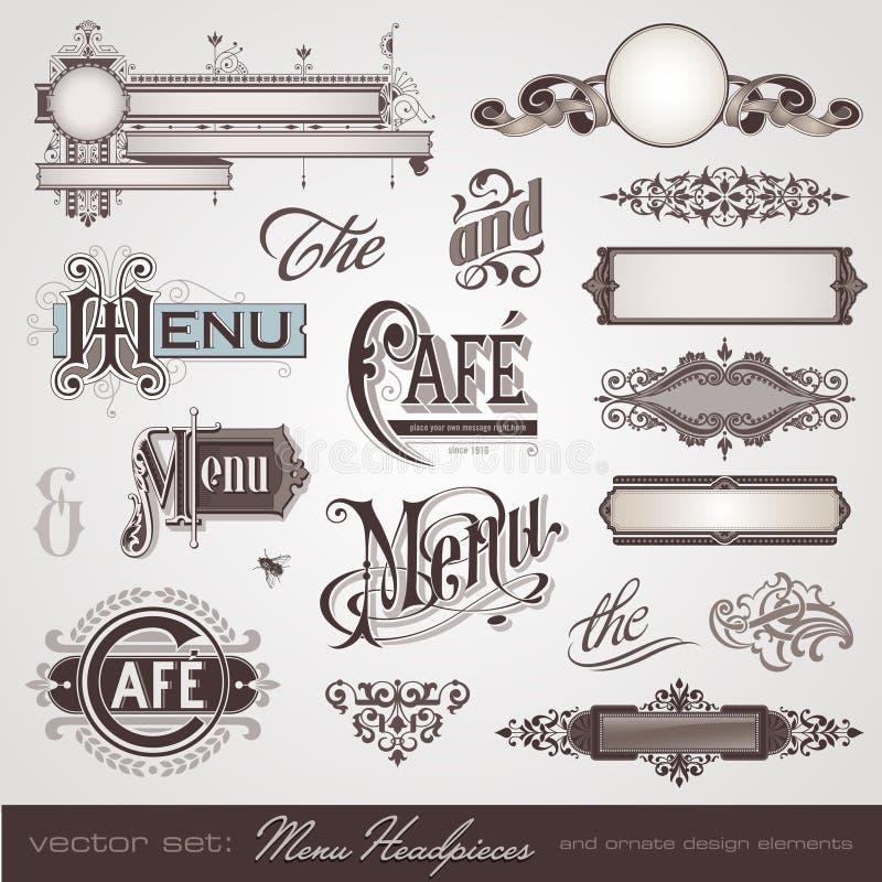 huvudbonadmeny royaltyfri illustrationer