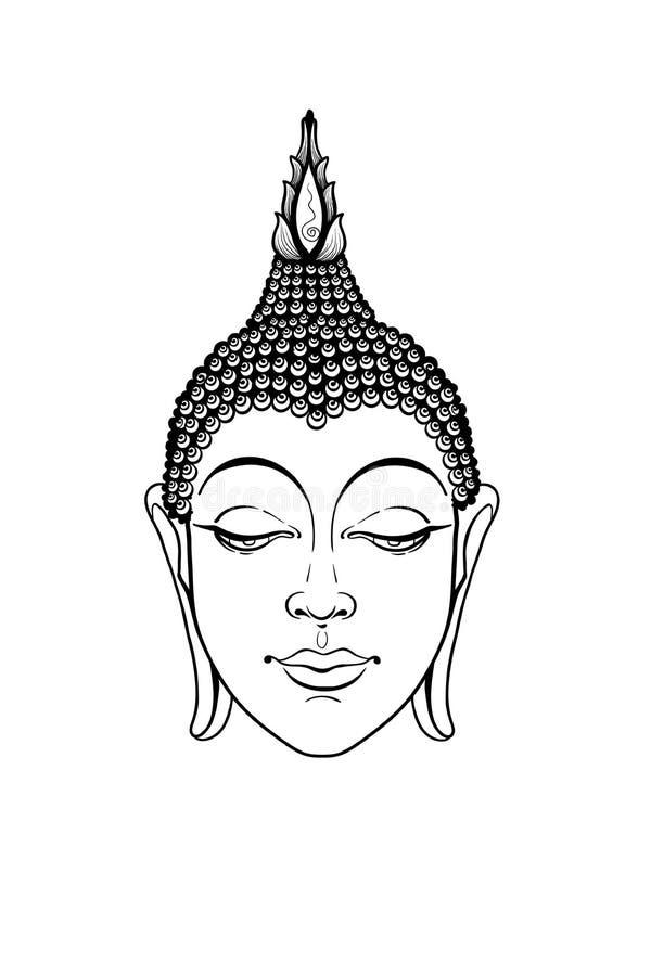 Huvudbuddha vektor Buddhaframsida som isoleras på vit Esoterisk tappningvektorillustration Indier buddism, andlig konst stock illustrationer
