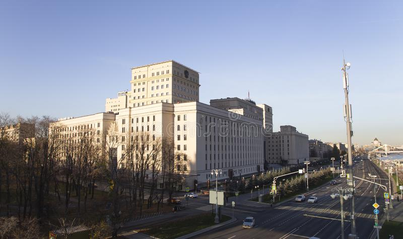 Huvudbyggnad av departementet av försvar från den ryska federationen Minoboron moscow russia royaltyfria bilder