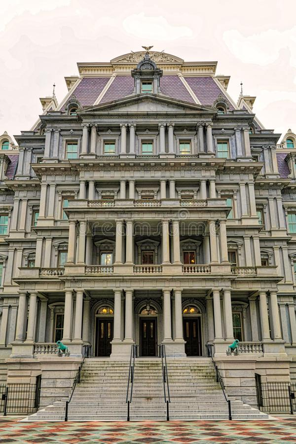 Huvudbyggnad med reflexion i Washington DC royaltyfri fotografi