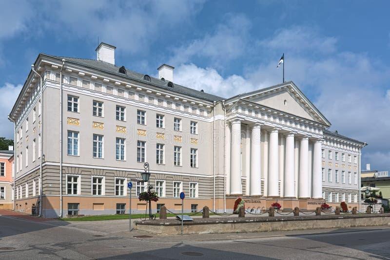 Huvudbyggnaden av det Tartu universitetet, Estland arkivbilder
