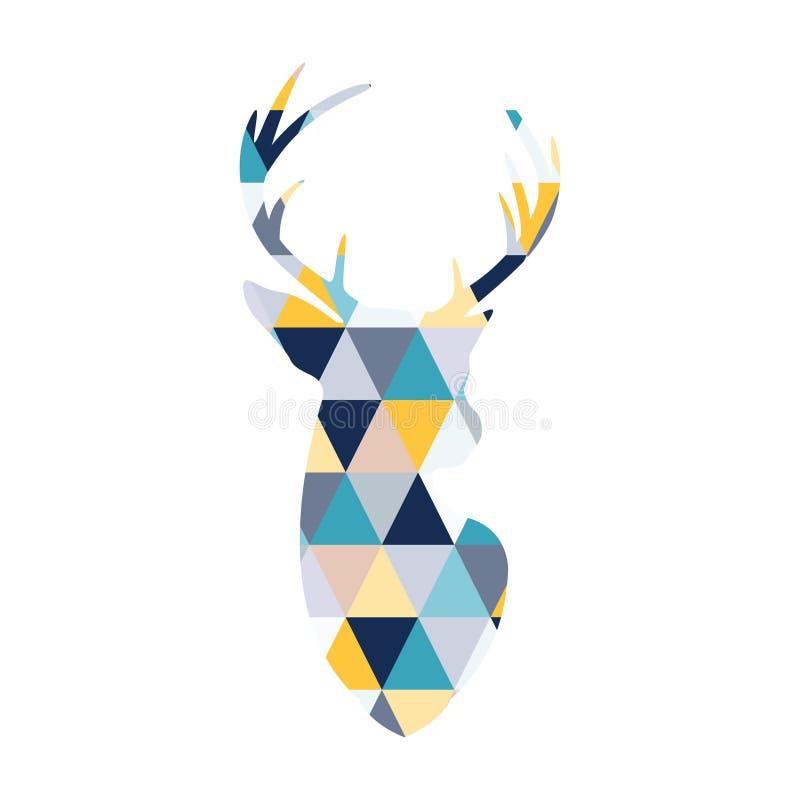 Huvudet av de skandinaviska hjortarna färgas av mång- kulöra trianglar royaltyfri illustrationer