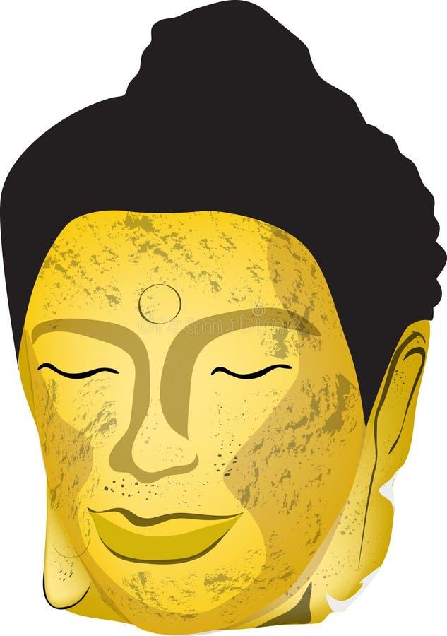 Huvudet av den gamla guld- Buddha arkivbild
