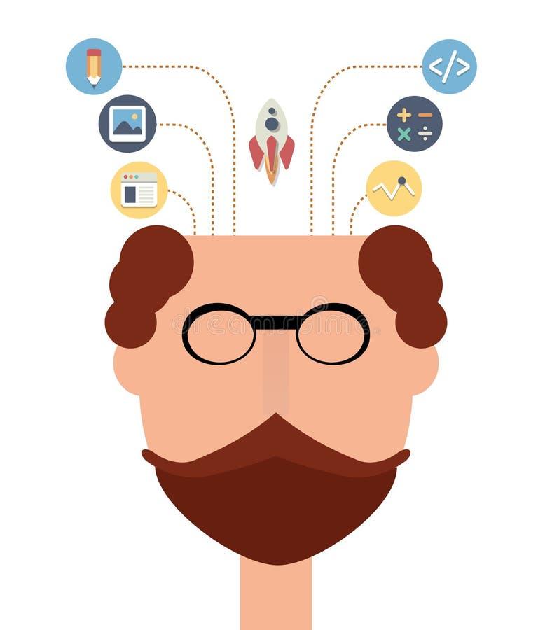 Huvudet av den idérika mannen med startar upp plana symboler Design och teknologi som lär begrepp royaltyfri illustrationer