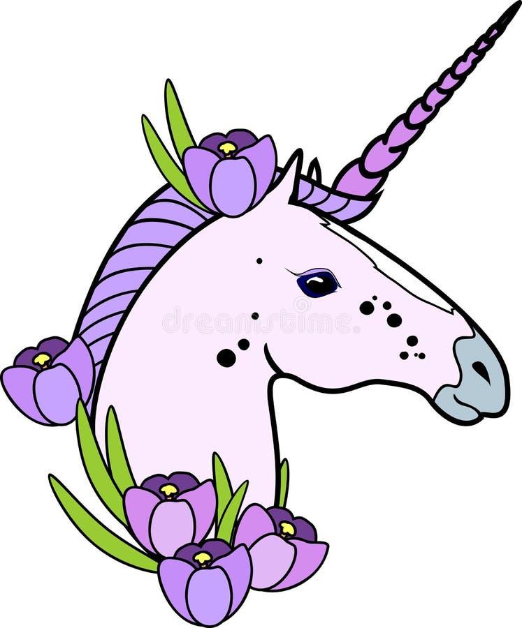 Huvudet av den rosa enhörningen med purpurfärgad man och krokus blommar på vit bakgrund vektor illustrationer