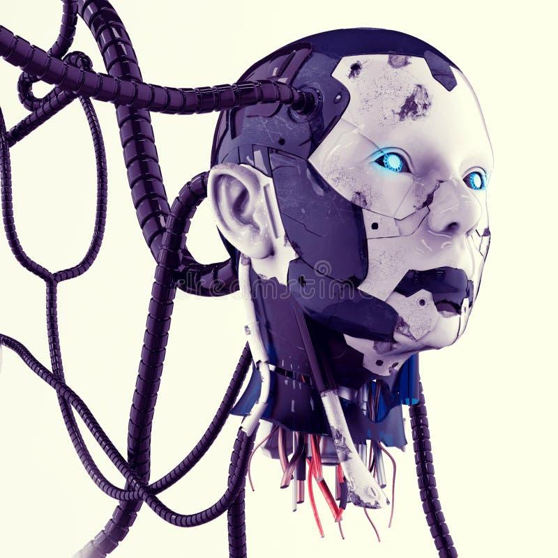 Huvudet av en cyborg med trådar på en grå bakgrund royaltyfri illustrationer