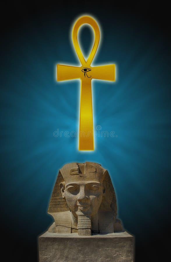Huvudet av en farao och en Ankh fotografering för bildbyråer
