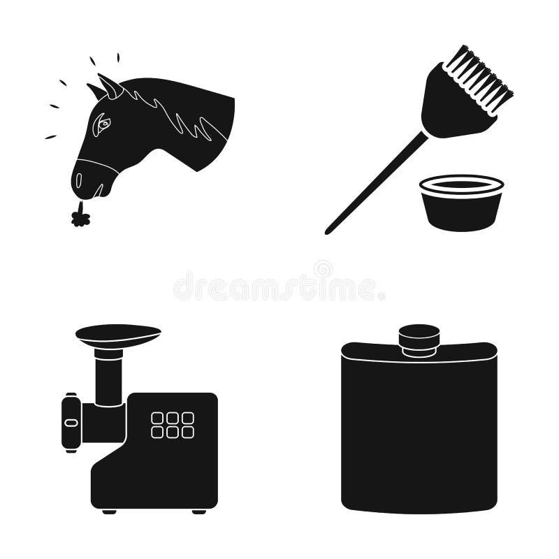Huvudet av en häst, en borste och annan rengöringsduksymbol i svart stil en köttkvarn, symboler för en krus i uppsättningsamling stock illustrationer