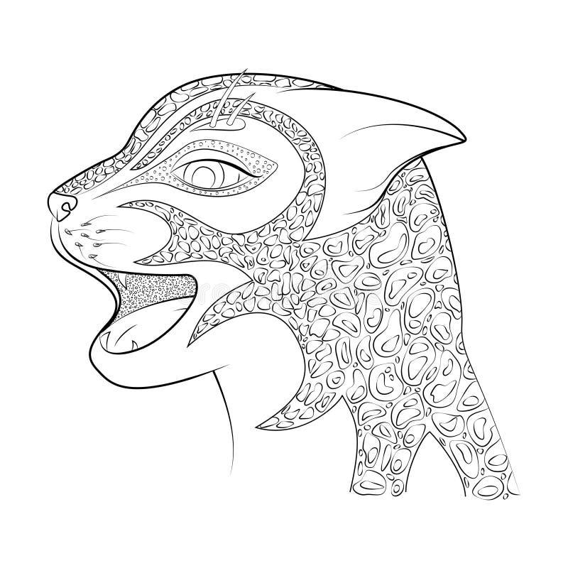 Huvudet av en lös katt Zen Tangle Cheetah Färgläggningbok för vuxna människor royaltyfri illustrationer