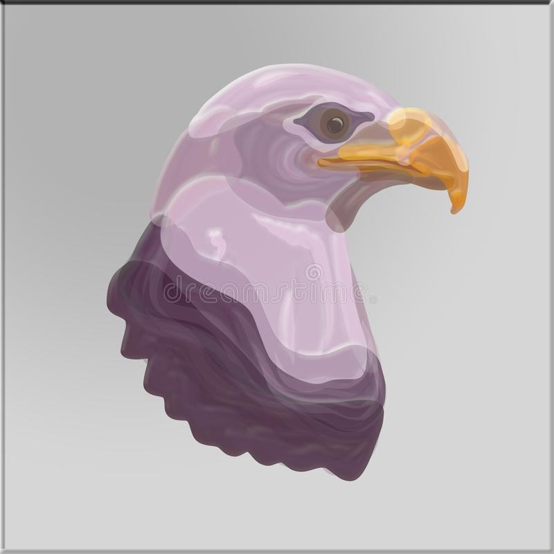 Huvudet av en majestätisk örn på en grå bakgrund, prickig modell royaltyfri illustrationer