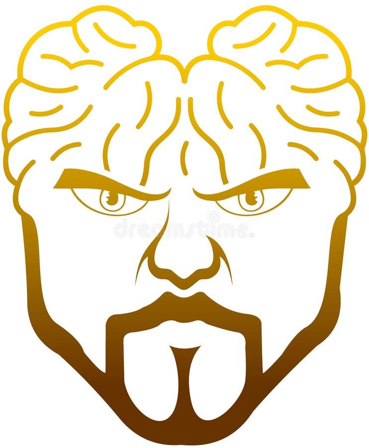 Huvudet av människokroppen tar bort hjärnan royaltyfri illustrationer