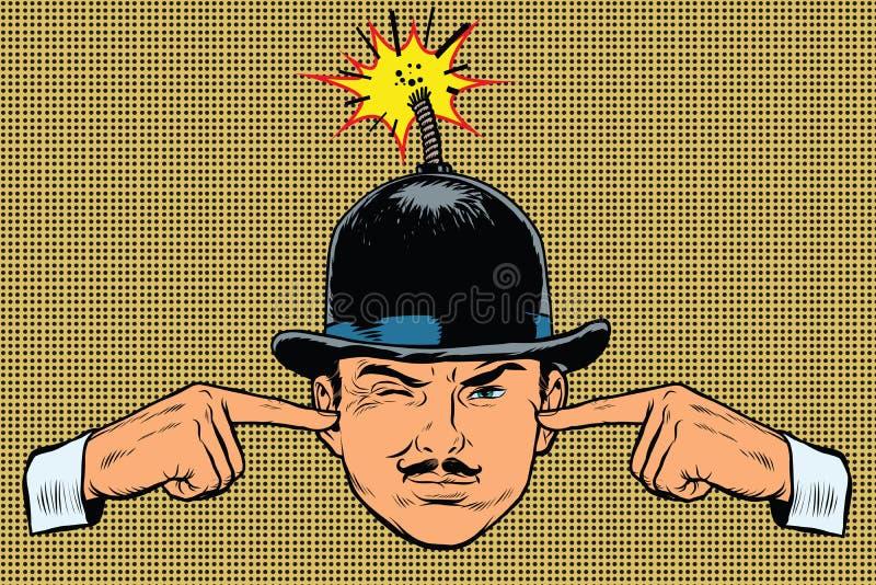 Huvudet bombarderar, begreppet av en terrorist och spionen royaltyfri illustrationer