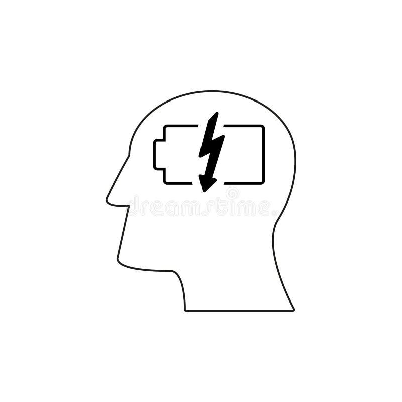 Huvudet med batteriarbetssymboler kommer upp idé stock illustrationer