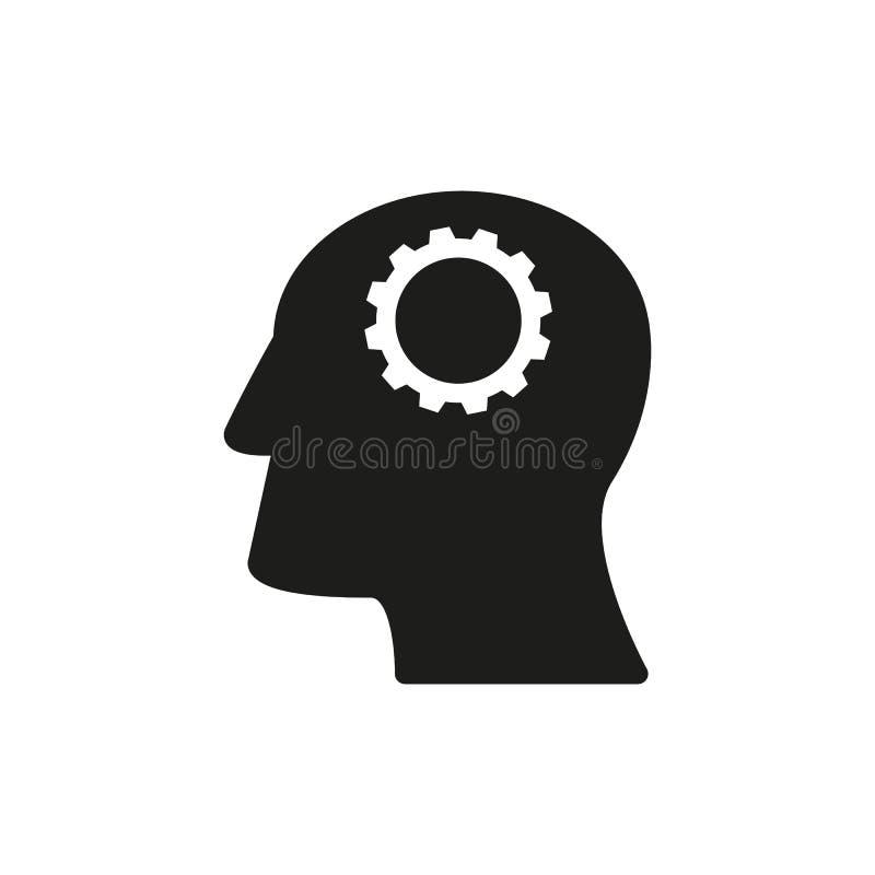 Huvudet med kugghjul fungerar symboler kommer upp idé stock illustrationer
