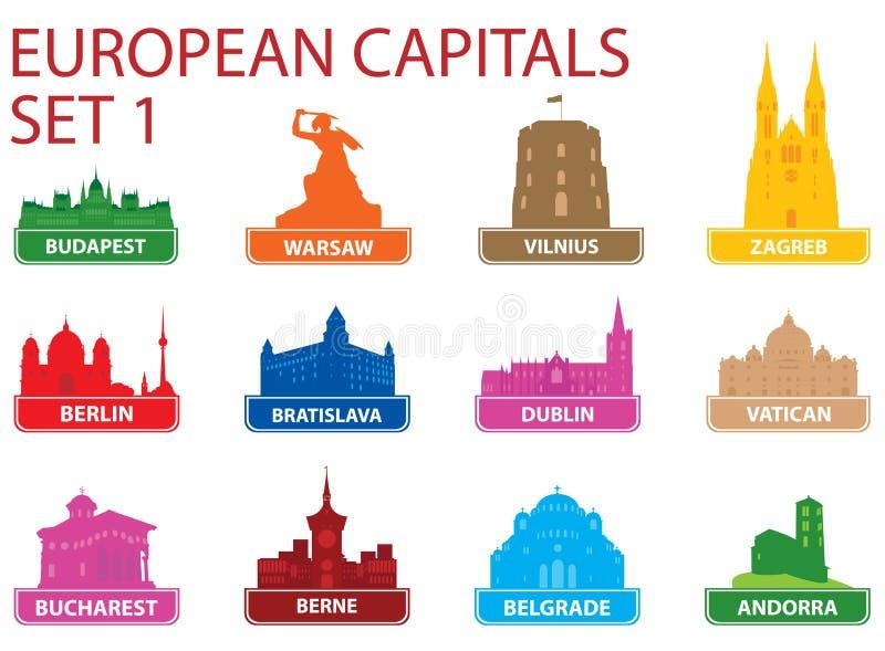 huvudeuropeiska symboler vektor illustrationer
