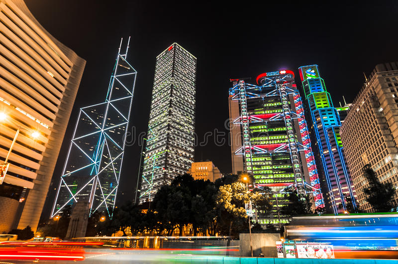 Huvudkontor i Hong Kong: Bank av Kina, Cheung Kong Hutchison Holdings, HSBC, Standard Chartered bank royaltyfri fotografi