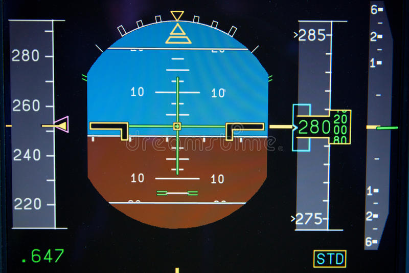 huvudpfd för flygplanskärmflyg fotografering för bildbyråer