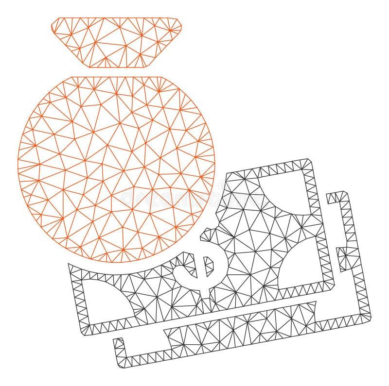 HuvudPolygonal ramvektor Mesh Illustration stock illustrationer