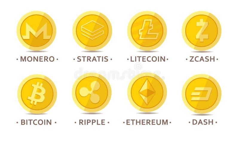 Huvudsaklig cryptocurrencymyntuppsättning vektor illustrationer
