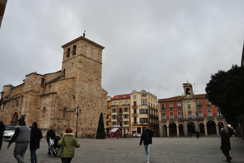 Huvudsaklig fyrkant och stadshus, Zamora Spanien fotografering för bildbyråer