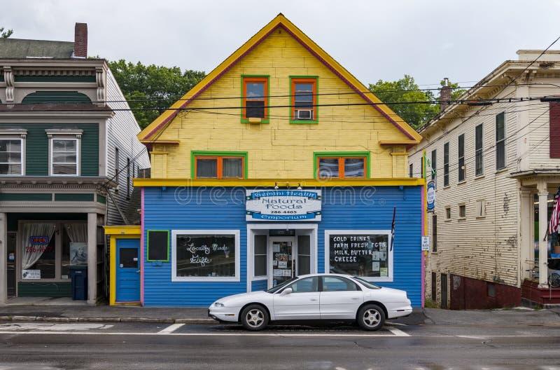 Huvudsaklig gata i Northfield, Maine arkivfoto
