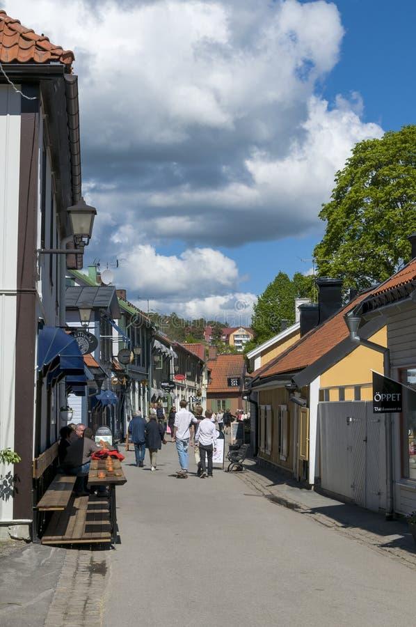 Huvudsaklig gata Sigtuna arkivbild