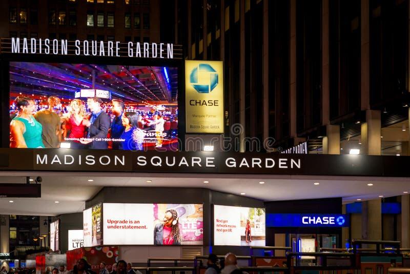 Huvudsaklig ingång av den berömda Madison Square Garden i New York arkivbild