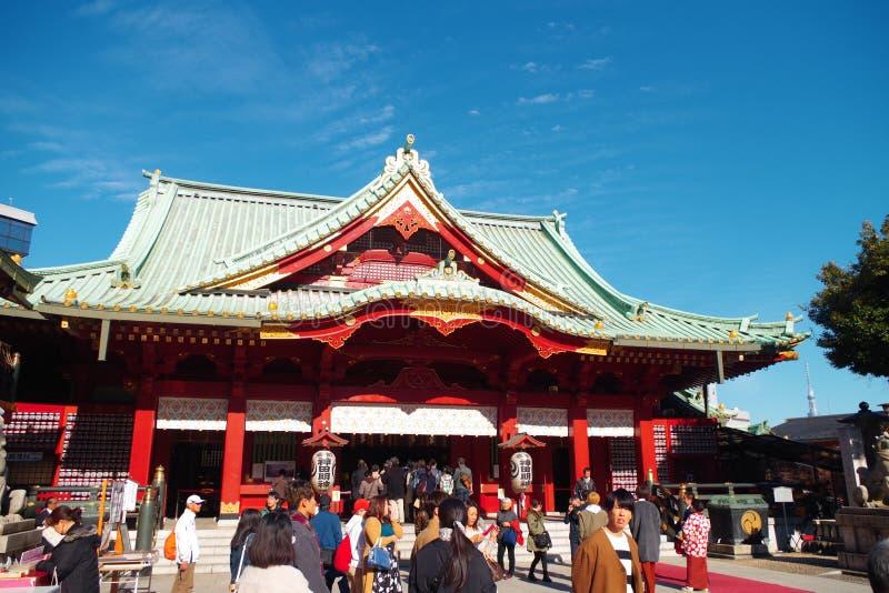 Huvudsaklig korridor av den Kanda relikskrin i Tokyo Japan royaltyfri fotografi