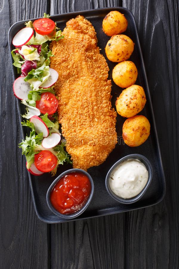 Huvudsaklig kurs av torskfil?n, i att panera med en garnering av nya potatisar och salladn?rbilden f?r ny gr?nsak Vertikal b?sta  royaltyfria foton