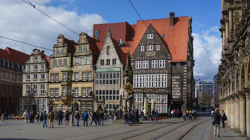 Huvudsaklig marknadsfyrkant i Bremen, Tyskland royaltyfria foton