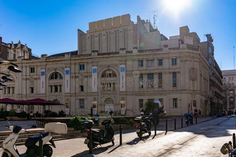 Huvudsaklig teater i Zaragoza, Spanien arkivbild