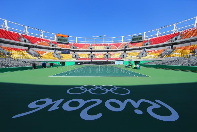 Huvudsaklig tennismötesplats Maria Esther Bueno Court av Rio de Janeiro 2016 OS på den olympiska tennismitten arkivbilder